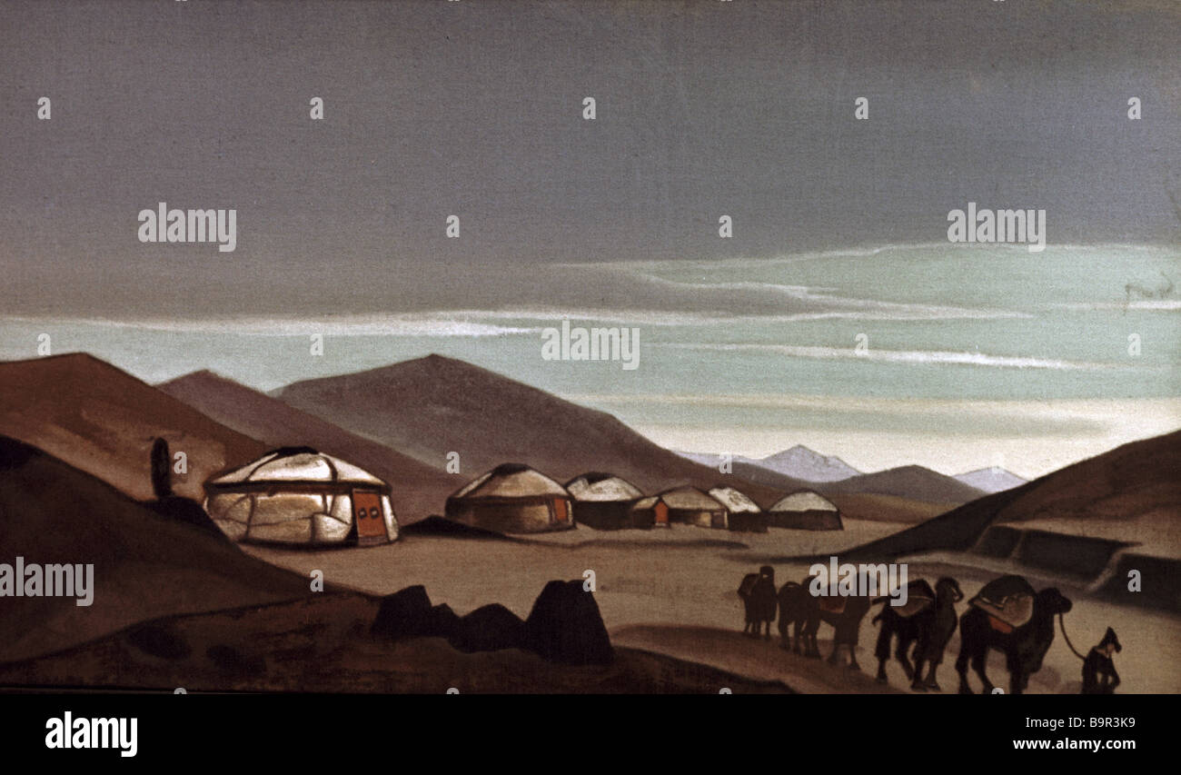 Replication of Mongolia The yurts tempera by Nikolai Rerikh - Stock Image
