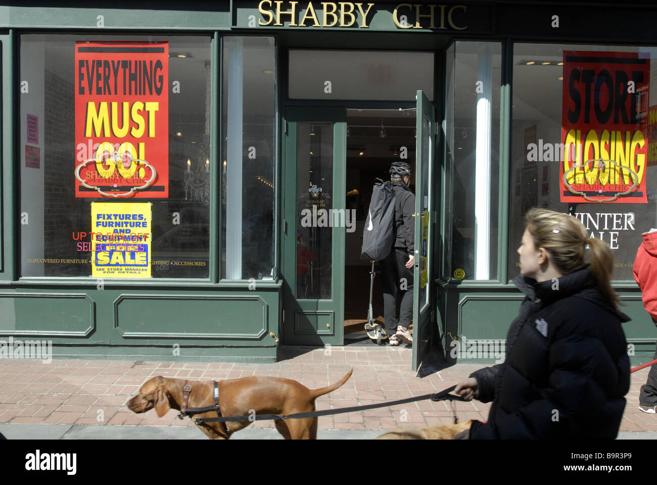 Shoppers pass the soon to close Shabby Chic store in the Upper West Side neighborhood of New York - Stock Image