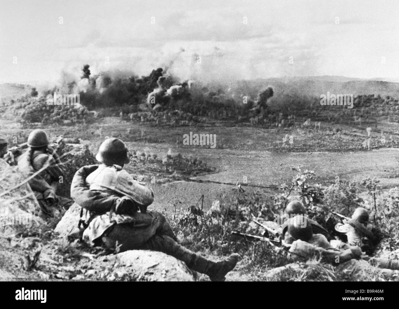 Warriors of the 1st Far Eastern front fighting during the Manchu operation - Stock Image