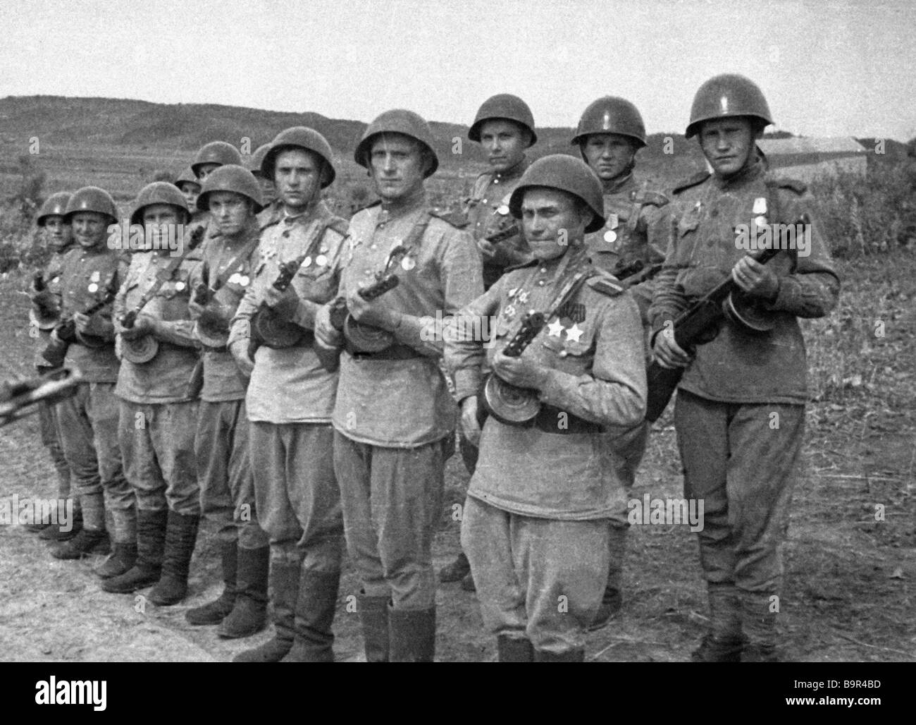 Soldiers of the First Far Eastern Front s Fifth Army standing in formation - Stock Image