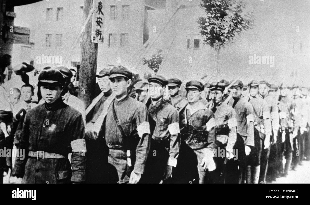 Chinese worker and peasant detachments during the war against imperialist Japan - Stock Image