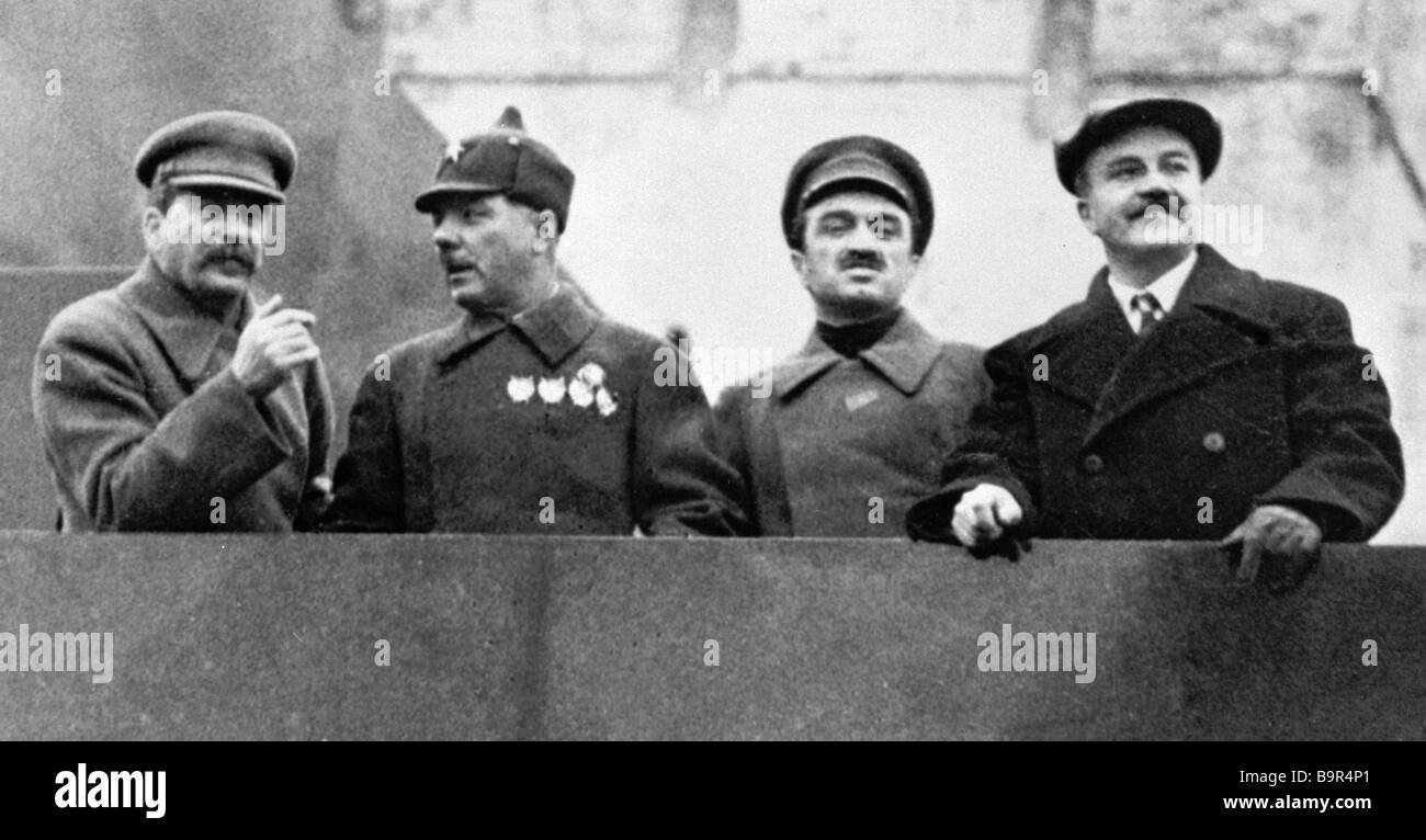 Josef Stalin left Kliment Voroshilov second from left Anastas Mikoyan second from right and Vyacheslav Molotov right Stock Photo