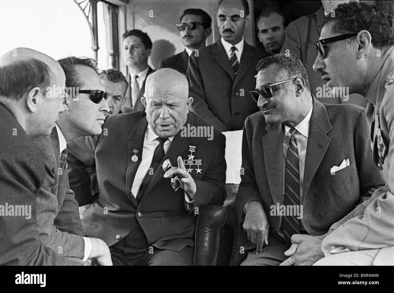 President of the UAR Gamal Abdel Nasser right is speaking with the CPSU Central Committee First Secretary Chairman - Stock Image
