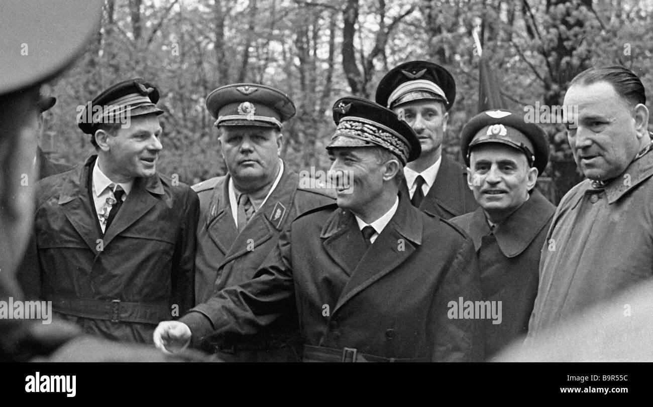 Normandie Niemen regiment Captain Roland de la Poype left commander Jacques Andre General Louis Delfino third right - Stock Image