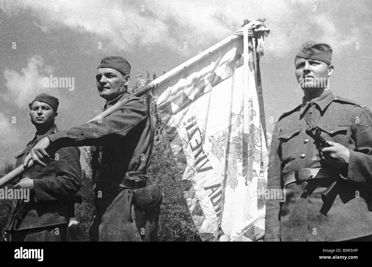 Standard bearers of the Czechoslovak corps - Stock Image