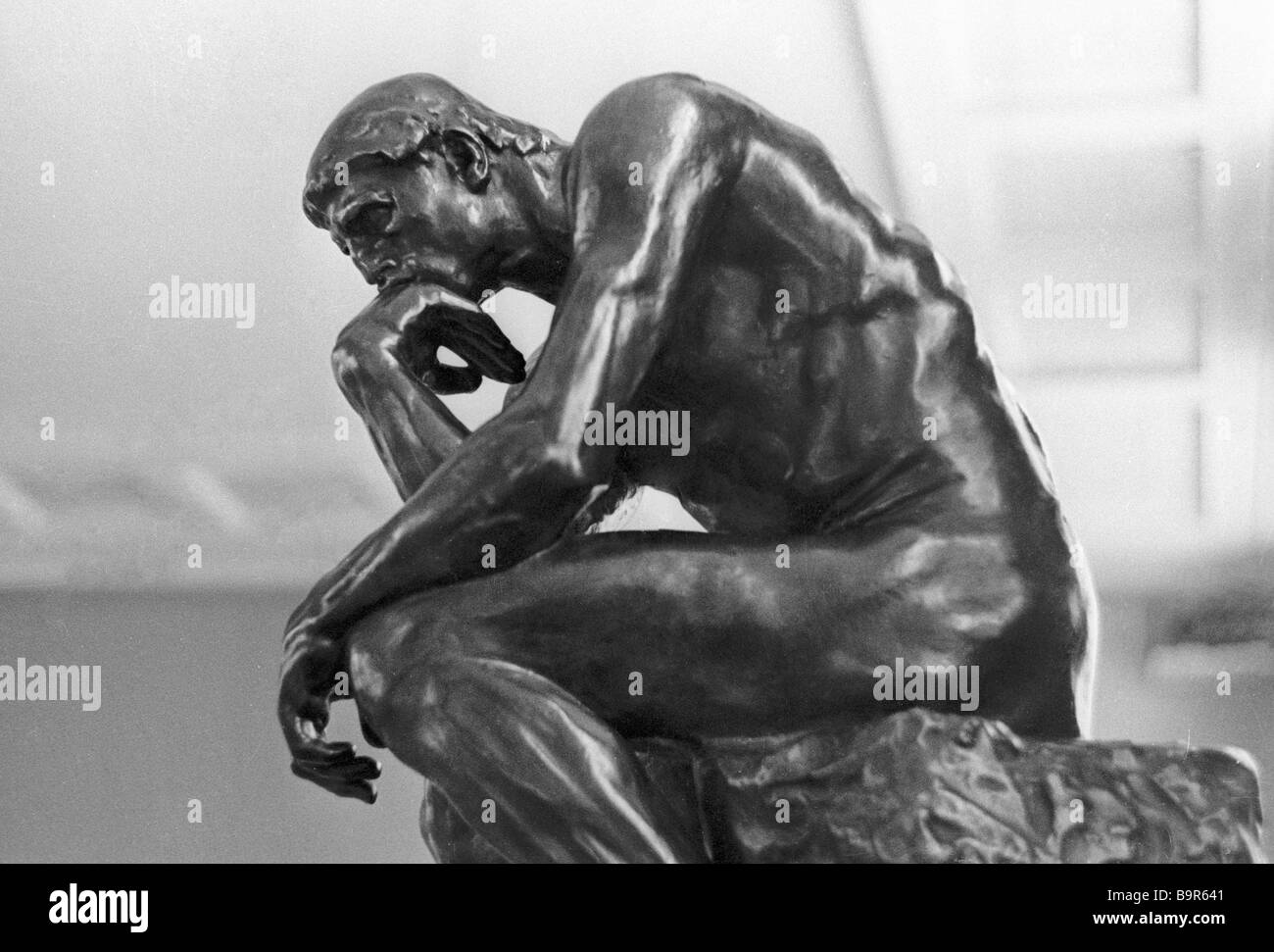 Auguste Rodin s sculpture The Thinker bronze 1880 from exhibition Rodin and His Time in the Pushkin Fine Arts Museum - Stock Image