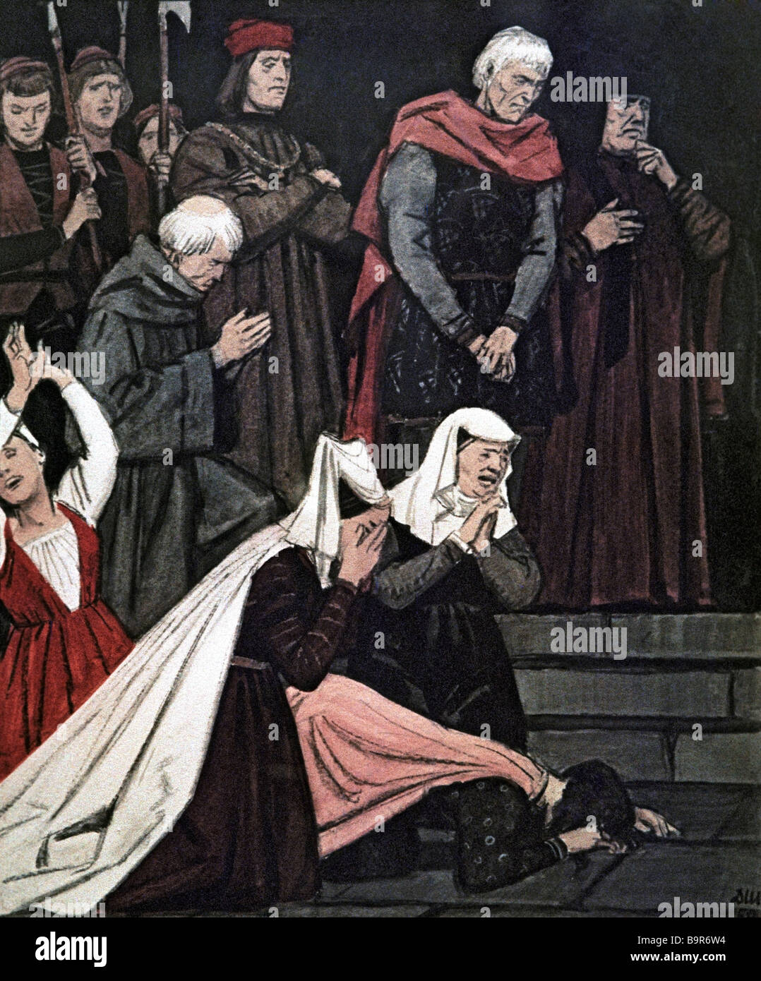 Shmarinov 1907 1999 Montecchi and Capuletti Over the Romeo and Juliet Bodies Illustration to Shakespear s tragedy - Stock Image