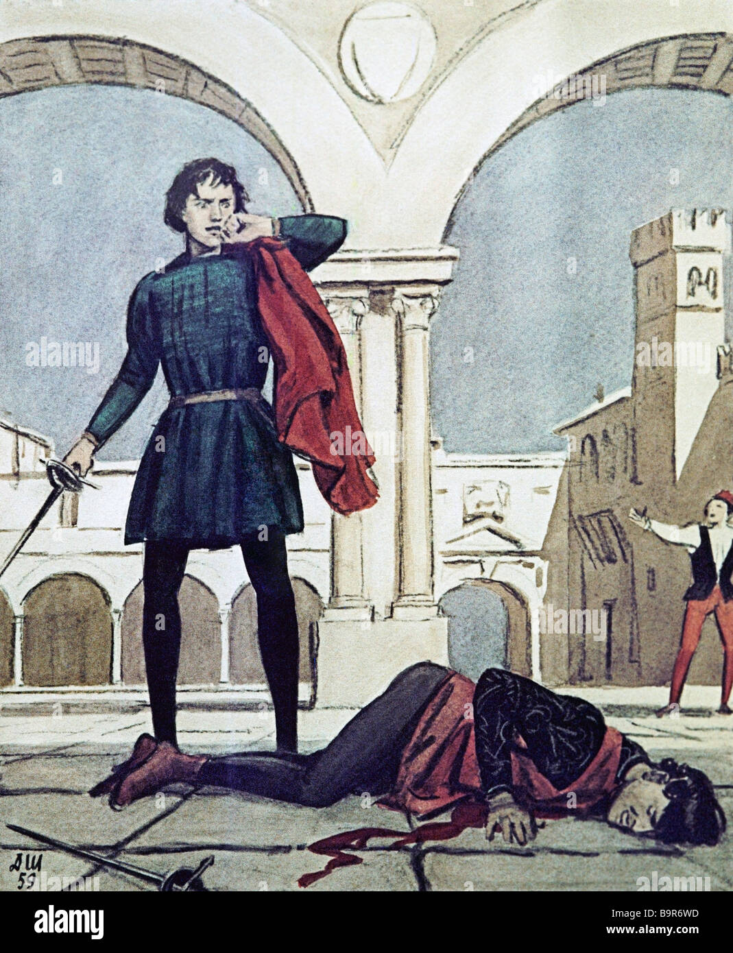 The death of Tybalt by Dementy Shmarinov 1907 1999 Illustration to Shakespeare s tragedy Romeo and Juliet - Stock Image