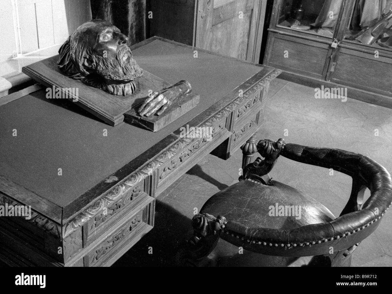 A death mask and a cast of writer Ivan Turgenev s hand kept in the writer s house museum - Stock Image