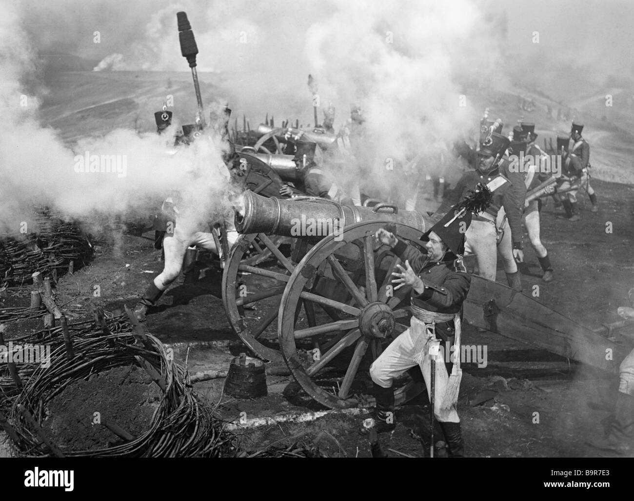 A battle scene from the film War and Peace - Stock Image