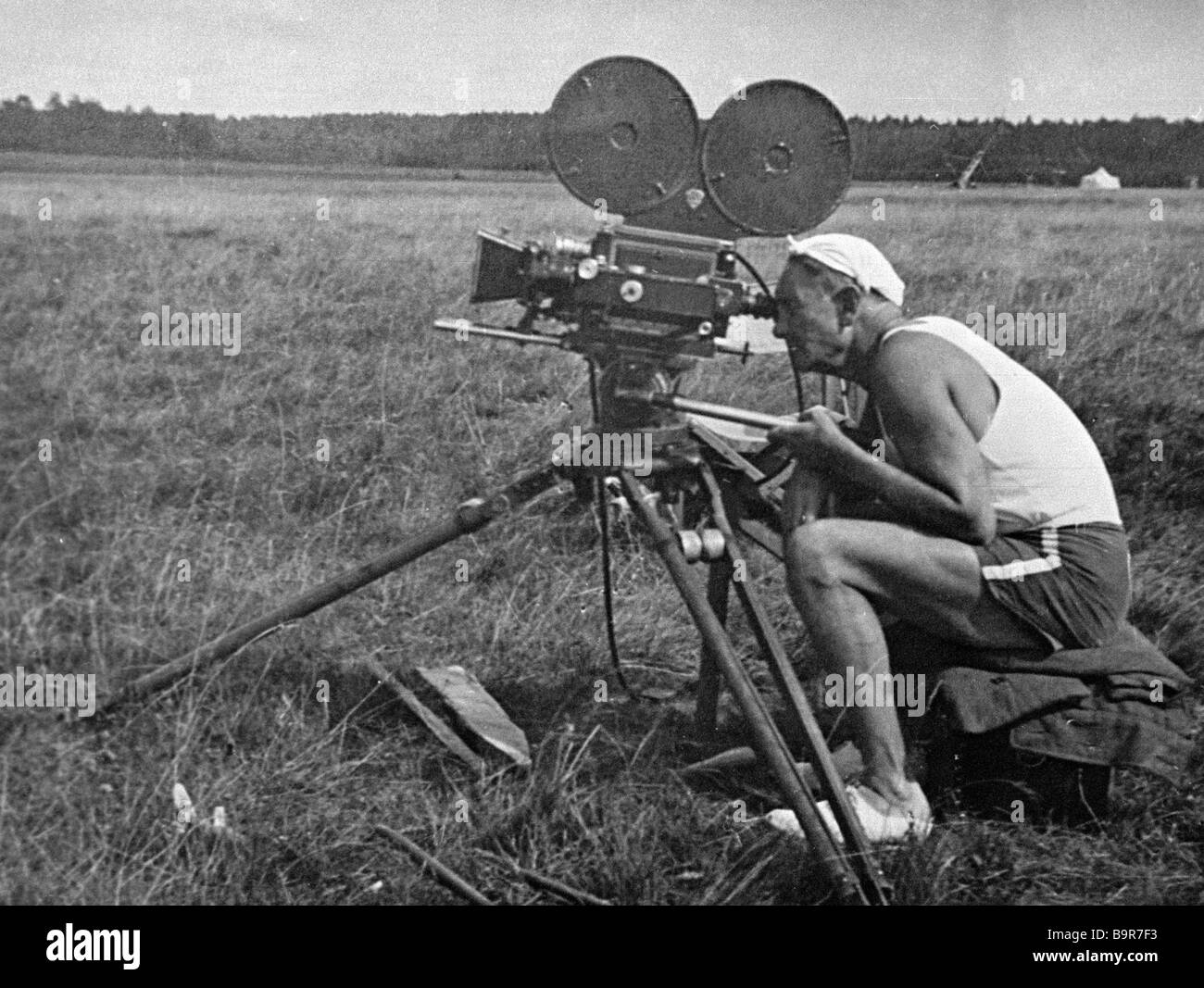 Vsevolod Pudovkin eminent Soviet film director and actor right on the shooting site - Stock Image