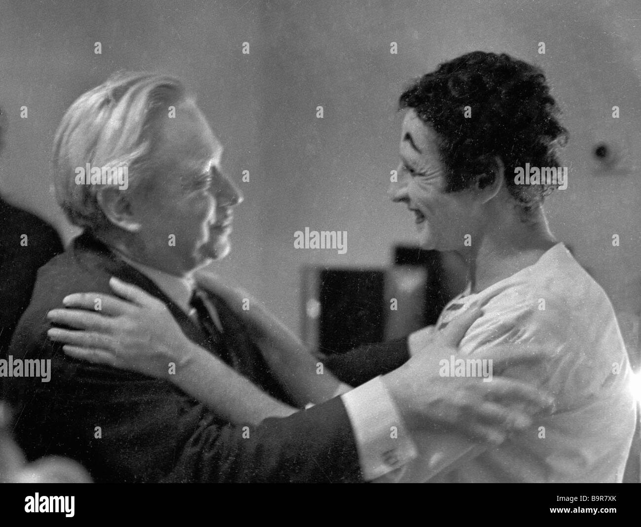 Actor and theater director Sergei Obraztsov left and French actor mime Marcel Marceau right Stock Photo