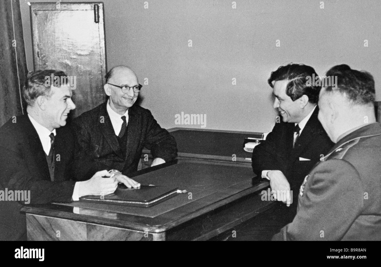 Vladimir Semichastny chairman of the KGB talking to Soviet intelligence officers Rudolf Abel second from left and - Stock Image