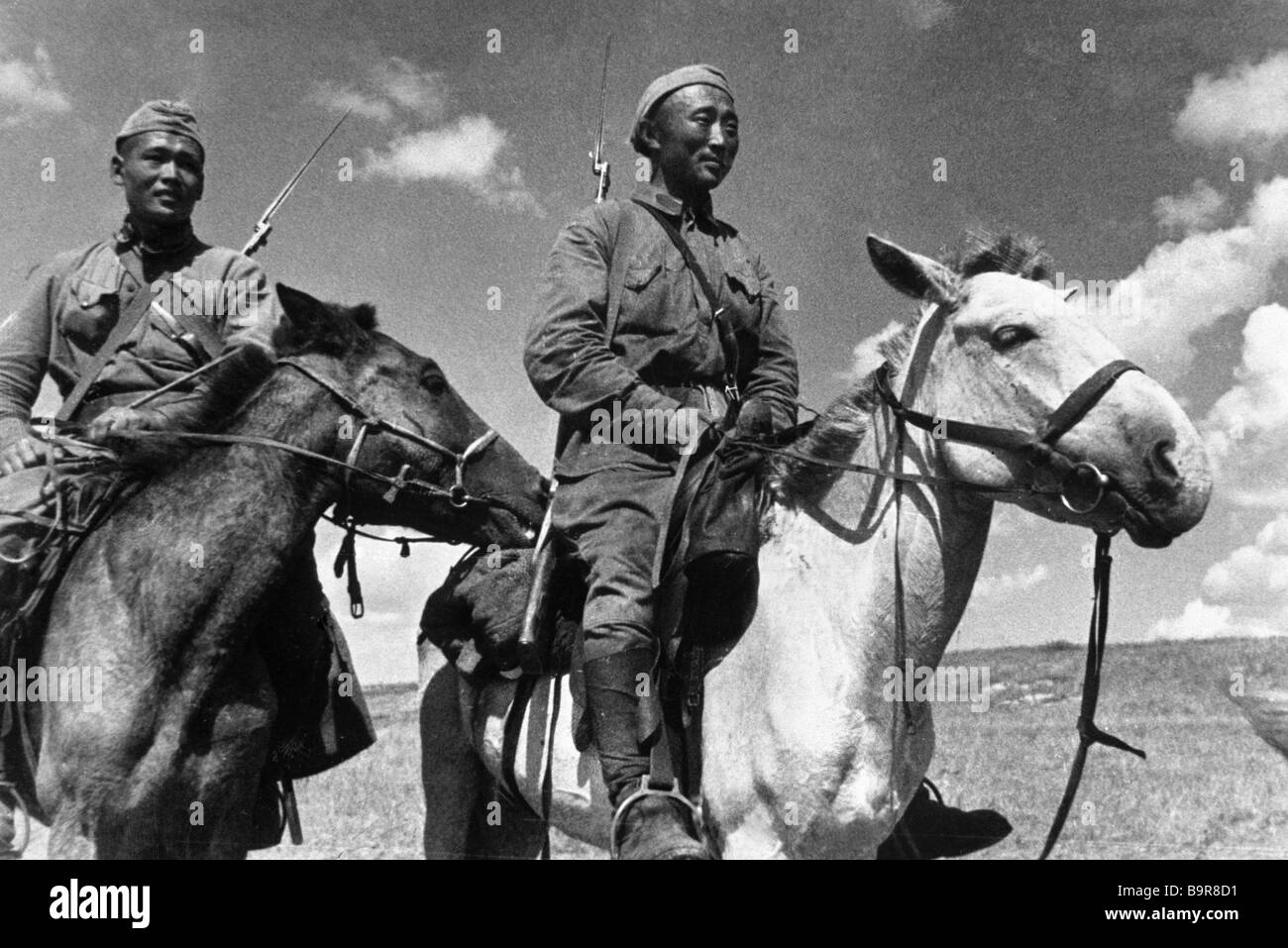 Mongolian cavalry during the military action at Khalkhin Gol - Stock Image