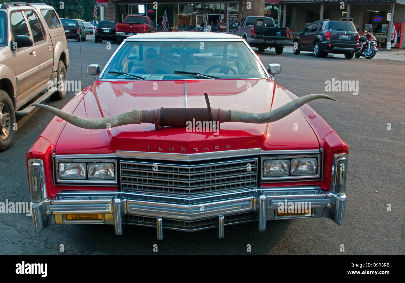 Cody Nite Rodeo Cadillac Eldorado with horns Cody Wyoming USA Stock