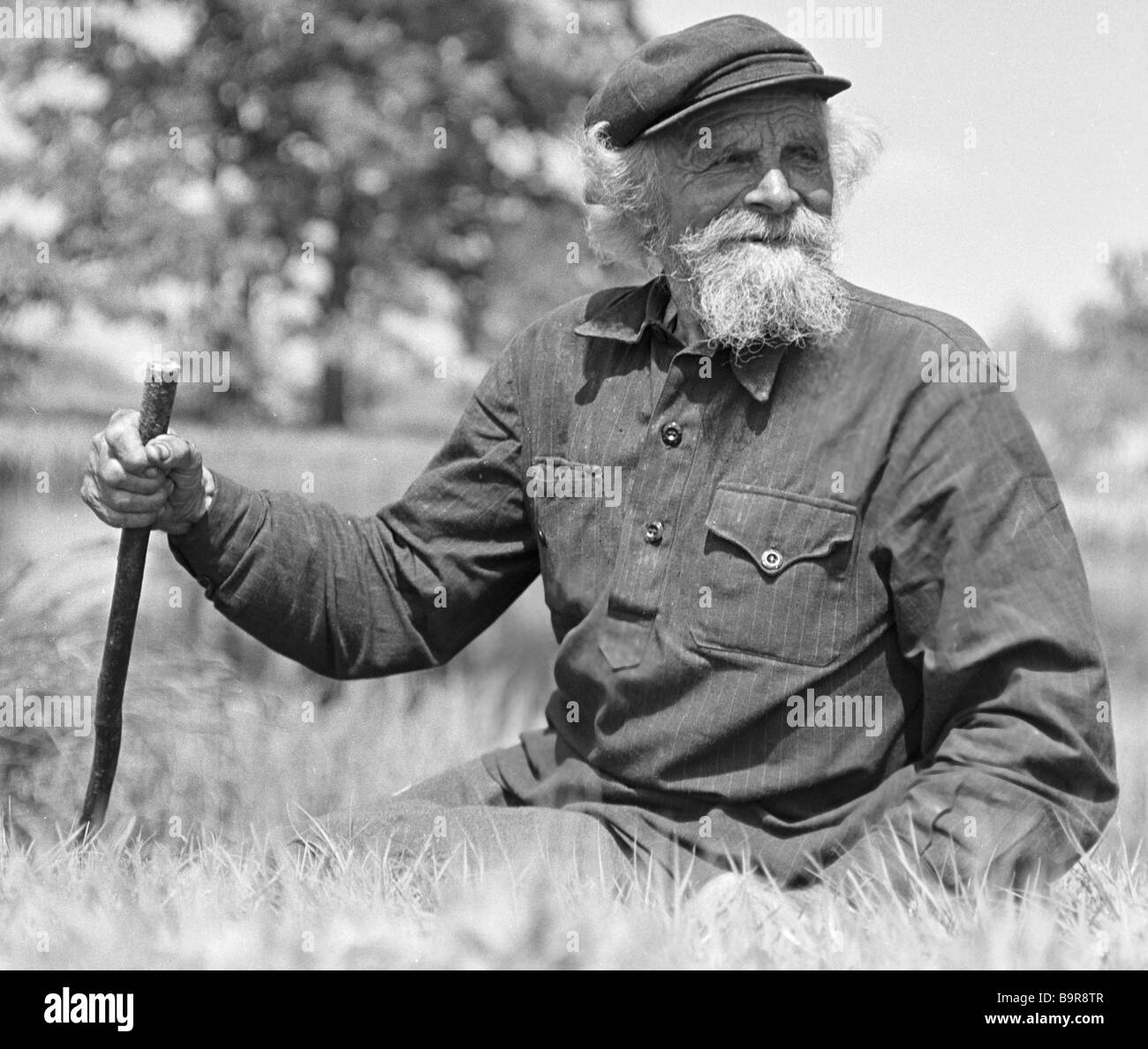 Guerilla guide Anton Sergunya 101 now war veteran Stock Photo