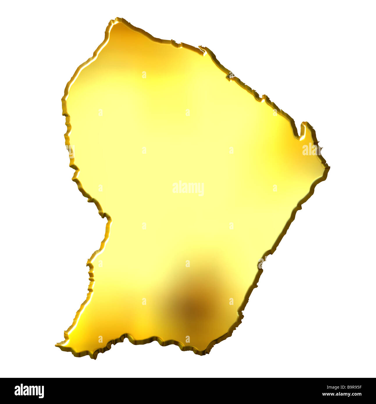 French Guiana 3d golden map isolated in white - Stock Image
