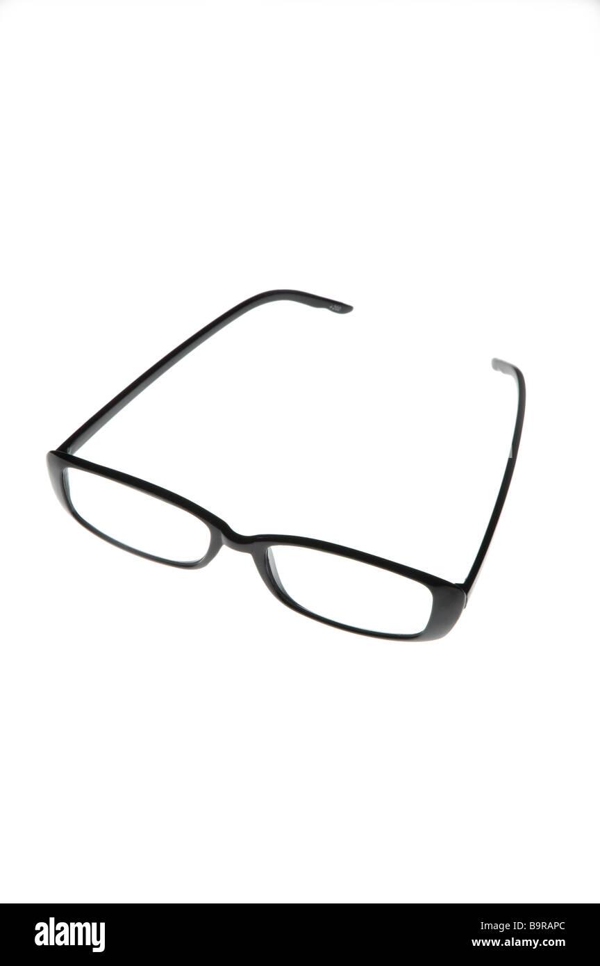 Black framed reading glasses - Stock Image