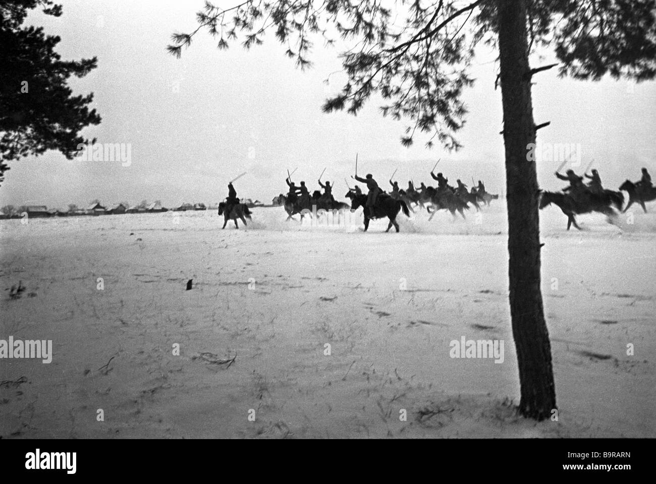 Soldiers of General Belov s cavalry corps rushing into attack Stock Photo