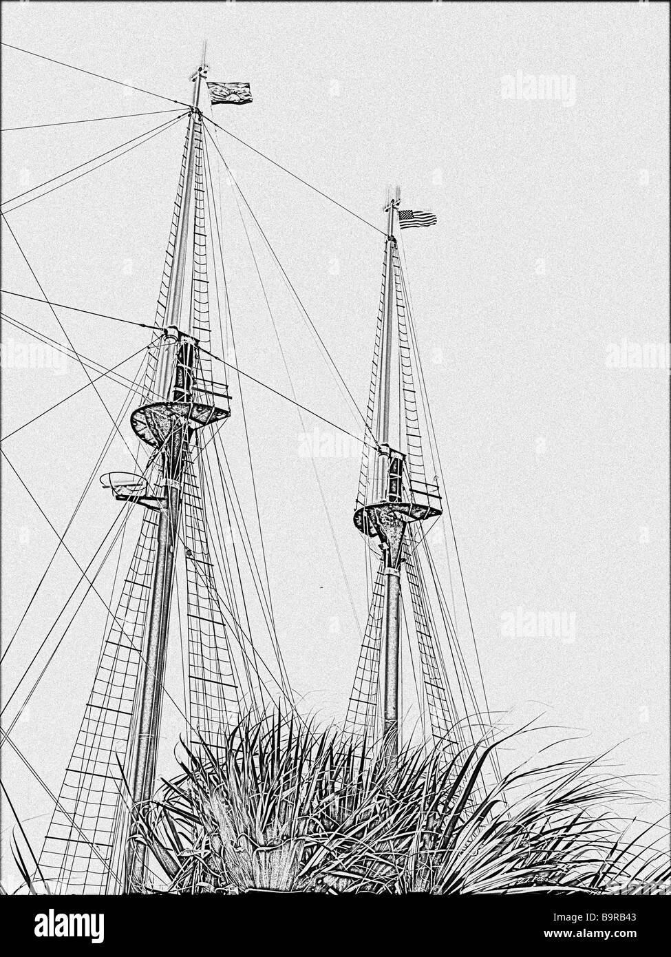 two masts of a three masted tall ship with palm tree in foreground using drawing technique from Photoshop - Stock Image