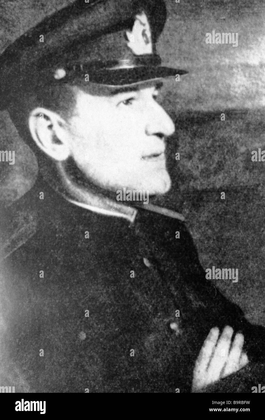 Soviet poet Yury Inge 1905 1941 fought in the Great Patriotic War - Stock Image