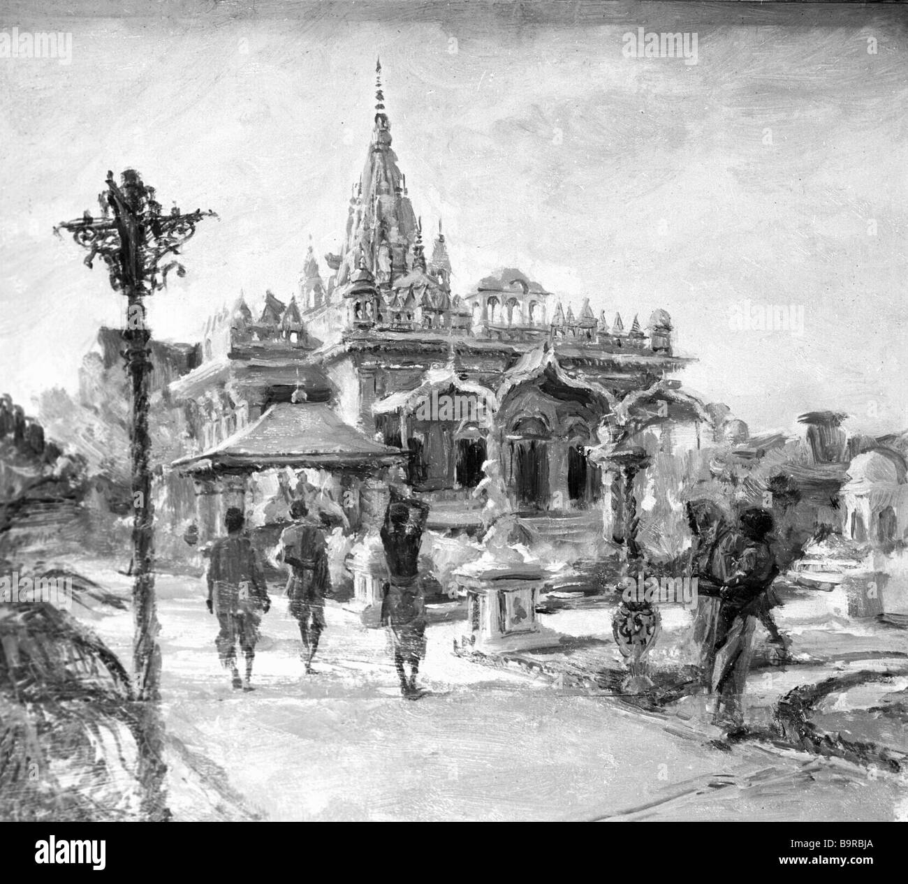 Reproduction of Konstantin Finogenov s painting The old Indian temple - Stock Image