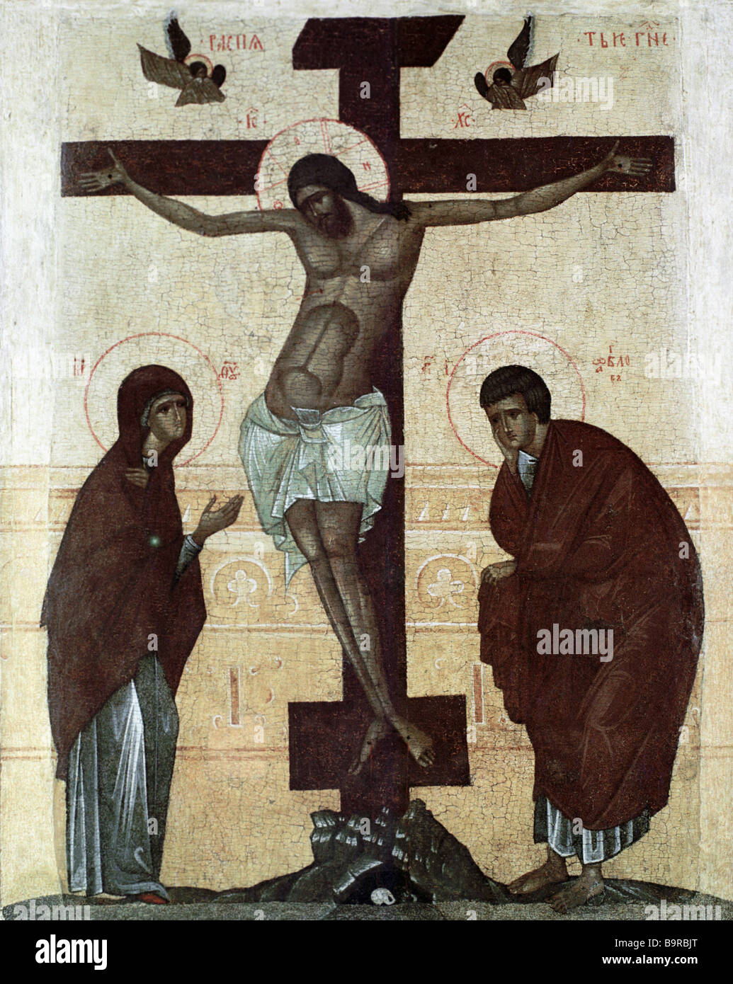 The Crucifixion 14th century icon - Stock Image