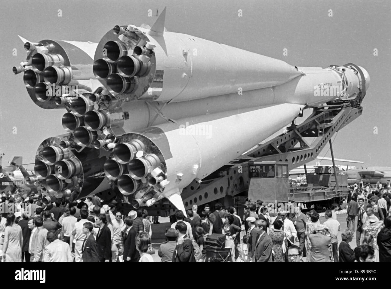 A Vostok rocket being moved to the Exhibition of Achievements of the National Economy - Stock Image