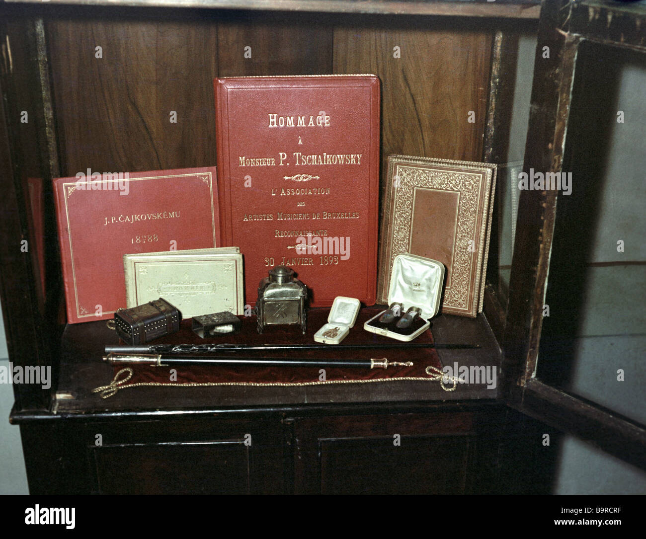 A conductor s baton and an honorary conductor s staff in Piotr Tchaikovsky s house museum in Klin - Stock Image