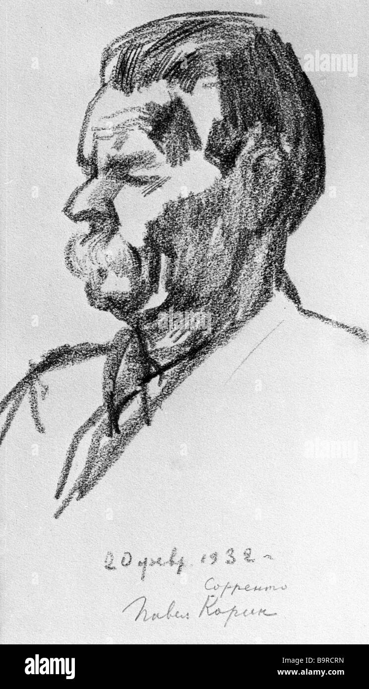 Sketch portrait of Maxim Gorky in Sorrento by Pavel Korin 1932 - Stock Image
