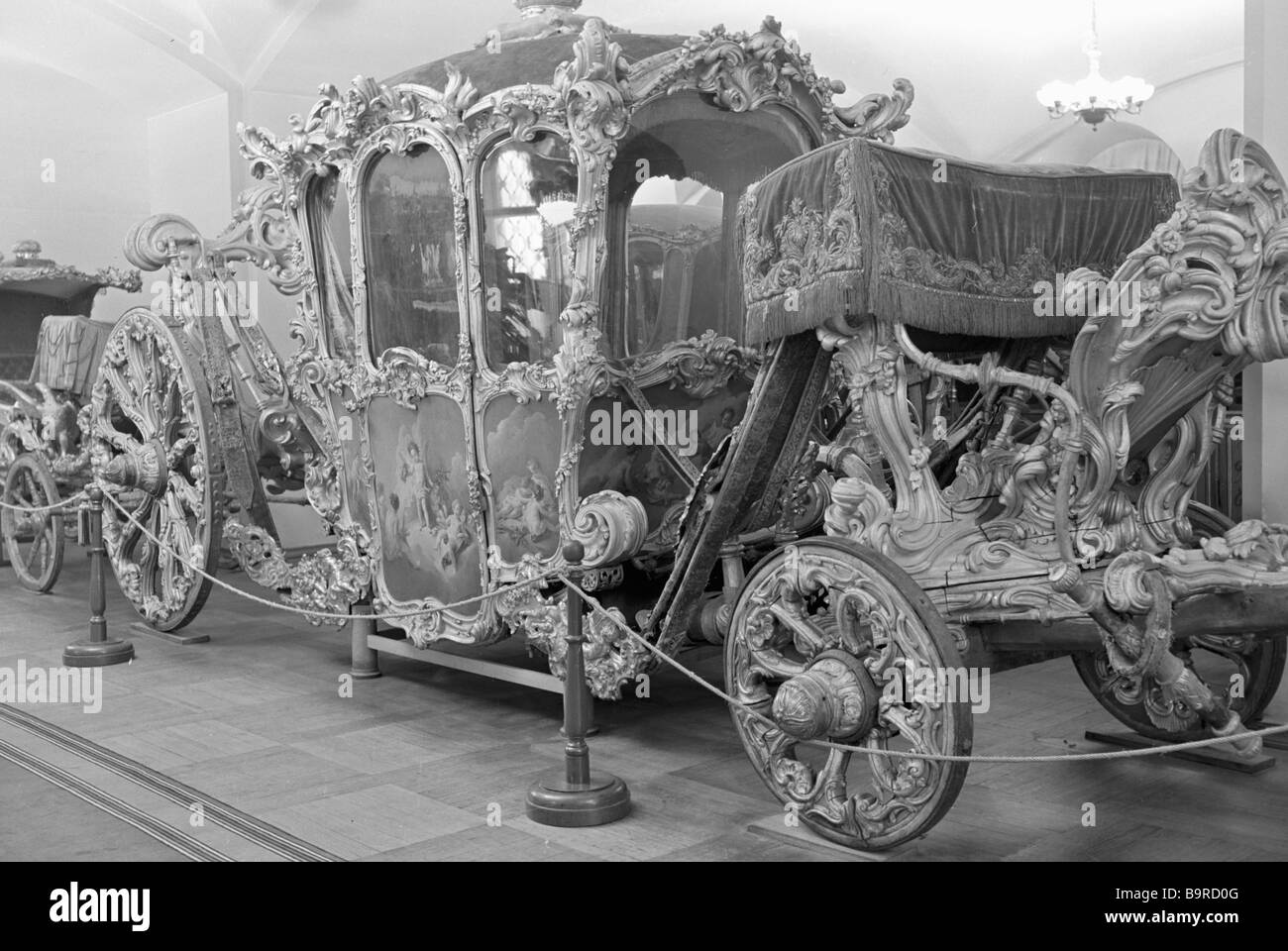 Coach belonging to the Russian Empress Elizabeth Peter the Great s daughter in the Armoury of the Moscow Kremlin - Stock Image