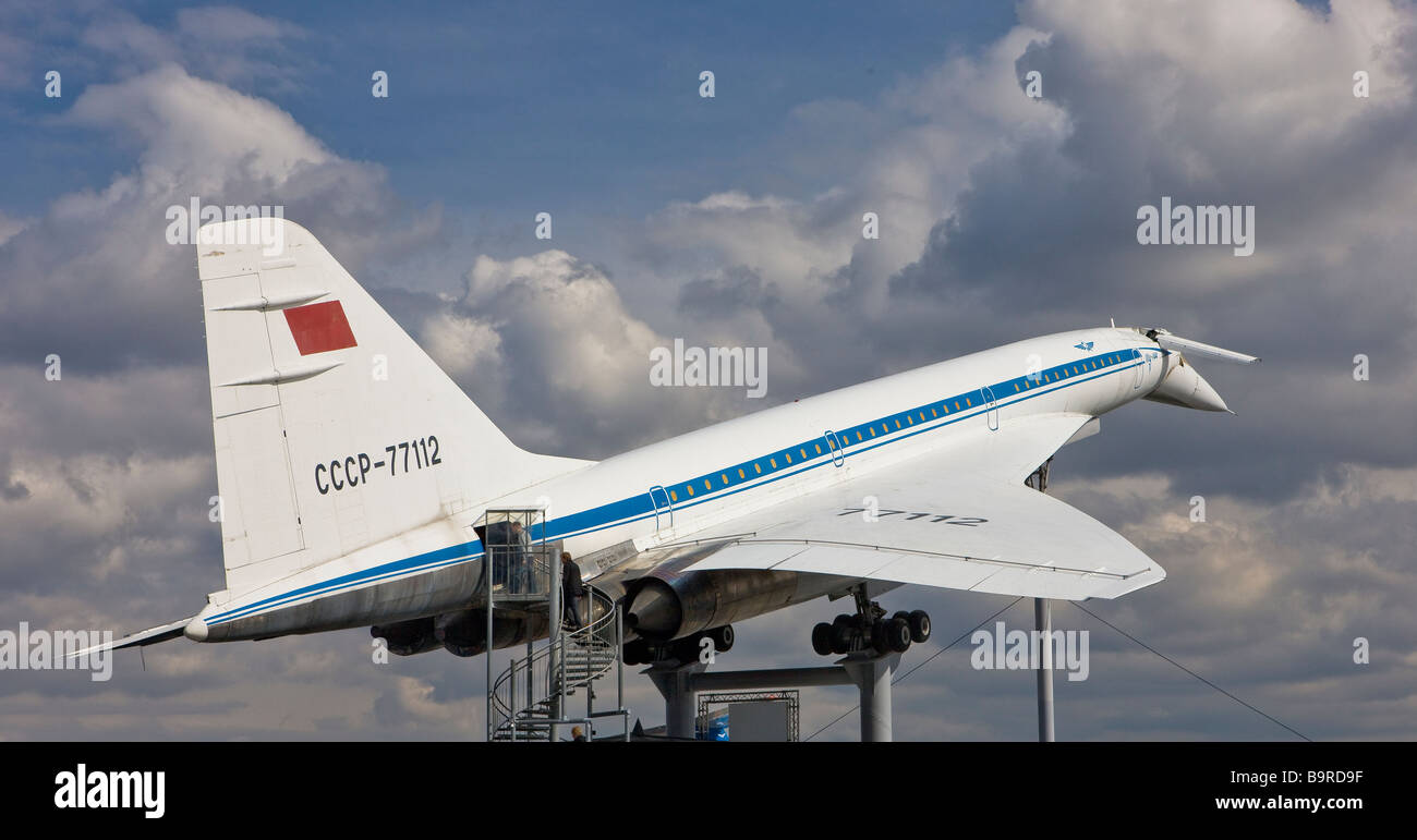 A Tupolev-144 supersonic airplane, no longer in use, on display at a museum in Germany - Stock Image