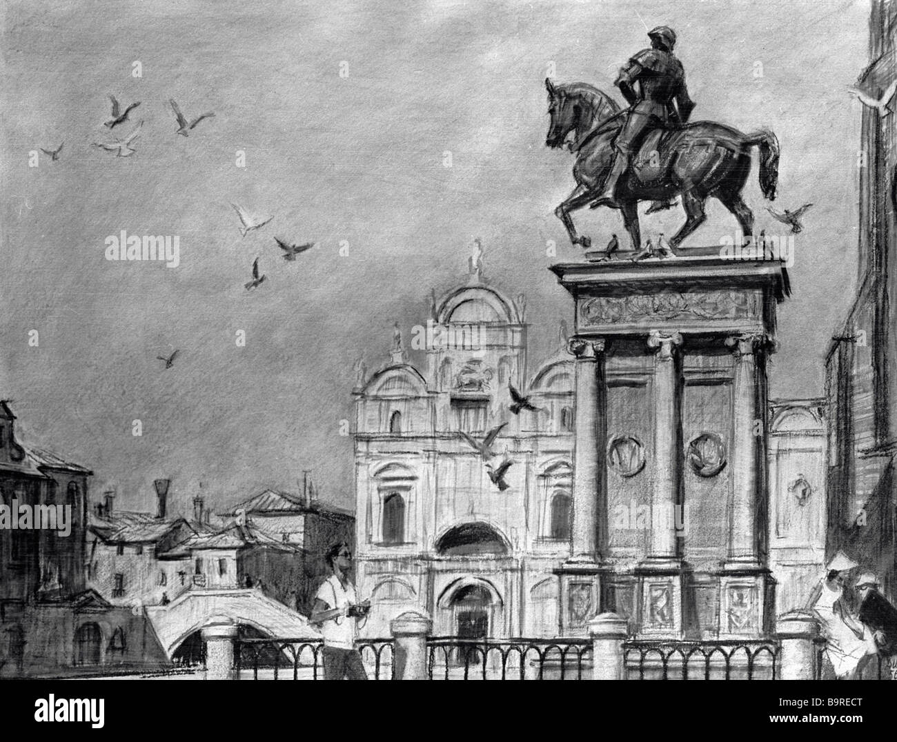 Dmitry Shmarinov At the Colleone Statue Venice Sanguine Stock Photo