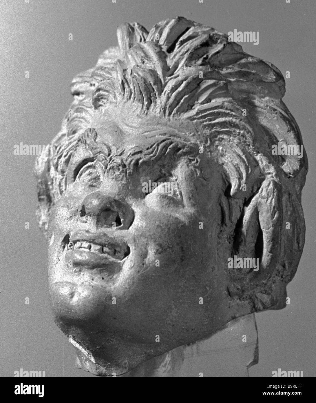 Sculptured head of Satyr found in Fanagoria Collection of Pushkin State Fine Arts Museum - Stock Image
