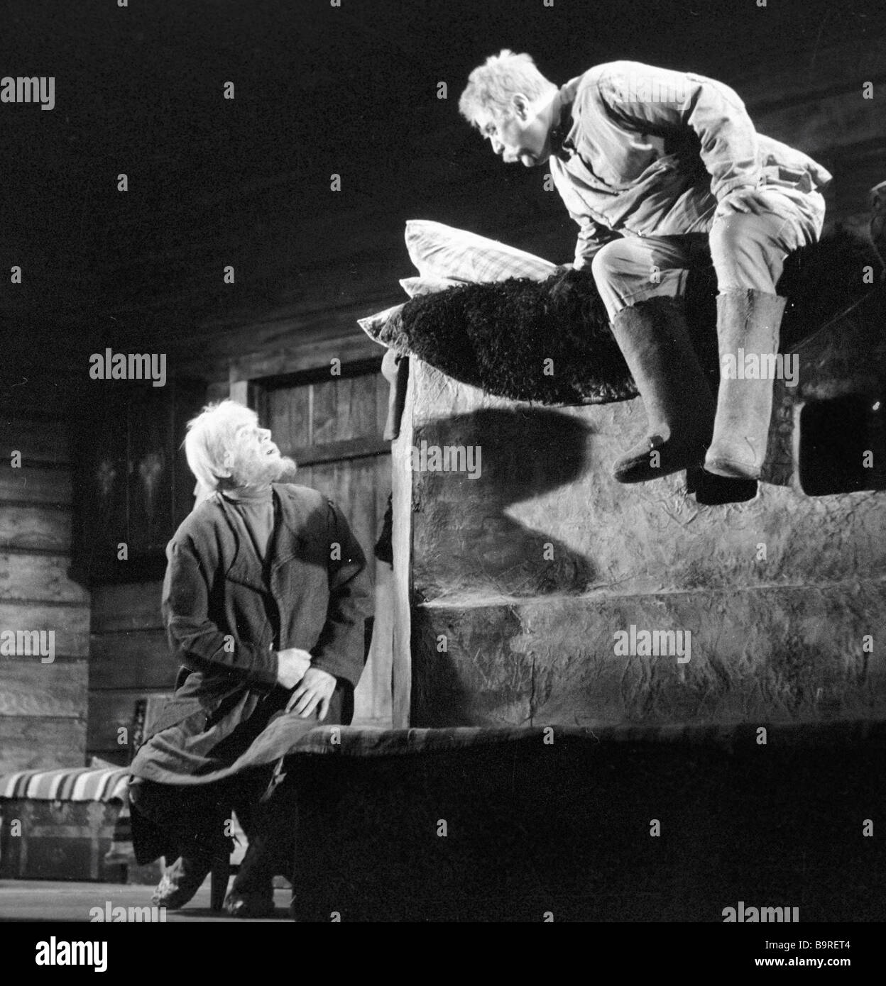 Igor Ilyinsky left as Akim and Mikhail Zharov as Mitrich in a scene from the play The Power of Darkness staged by - Stock Image