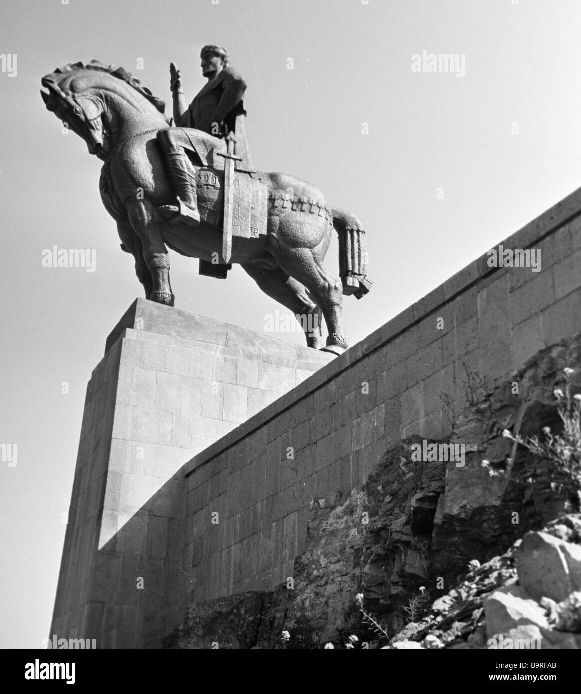A monument to the founder of Tbilisi Vakhtang Gorgasal - Stock Image