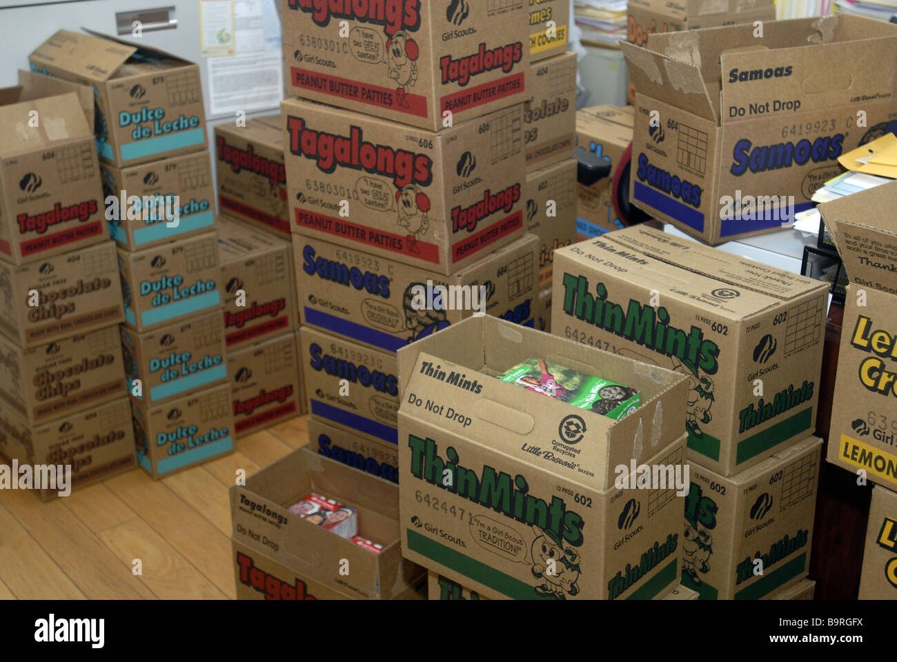 Boxes of Girl Scout cookies sold by Upper West Side Troop 3068 wait to be distributed in New York - Stock Image