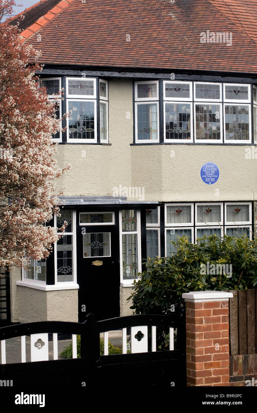 United Kingdom, Liverpool, house where John Lennon lived from 1945 to 1963 - Stock Image