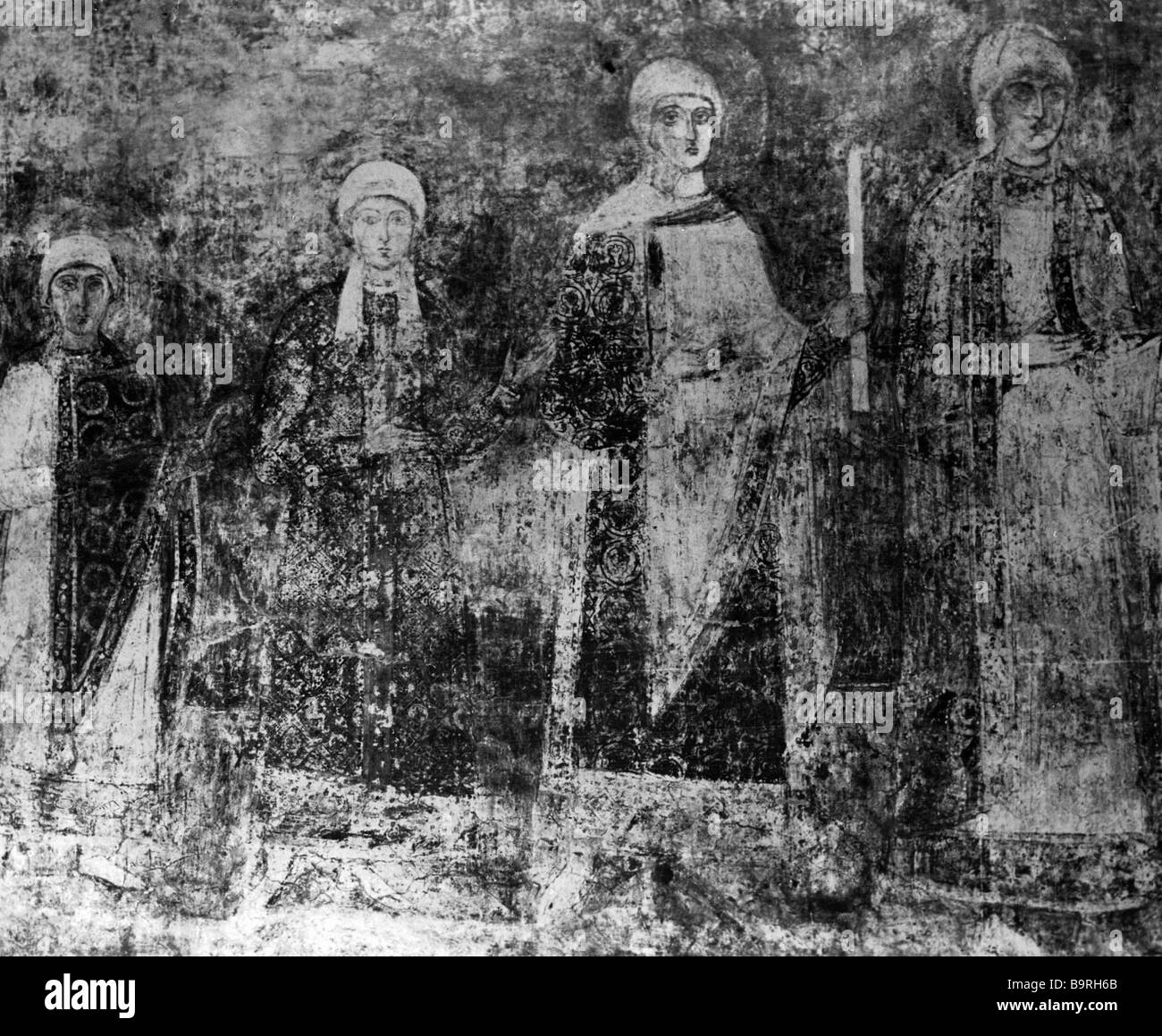 Fresco on the wall of st Sophia Cathedral in Kiev depicting Jaroslav The Wise daughters XI century - Stock Image