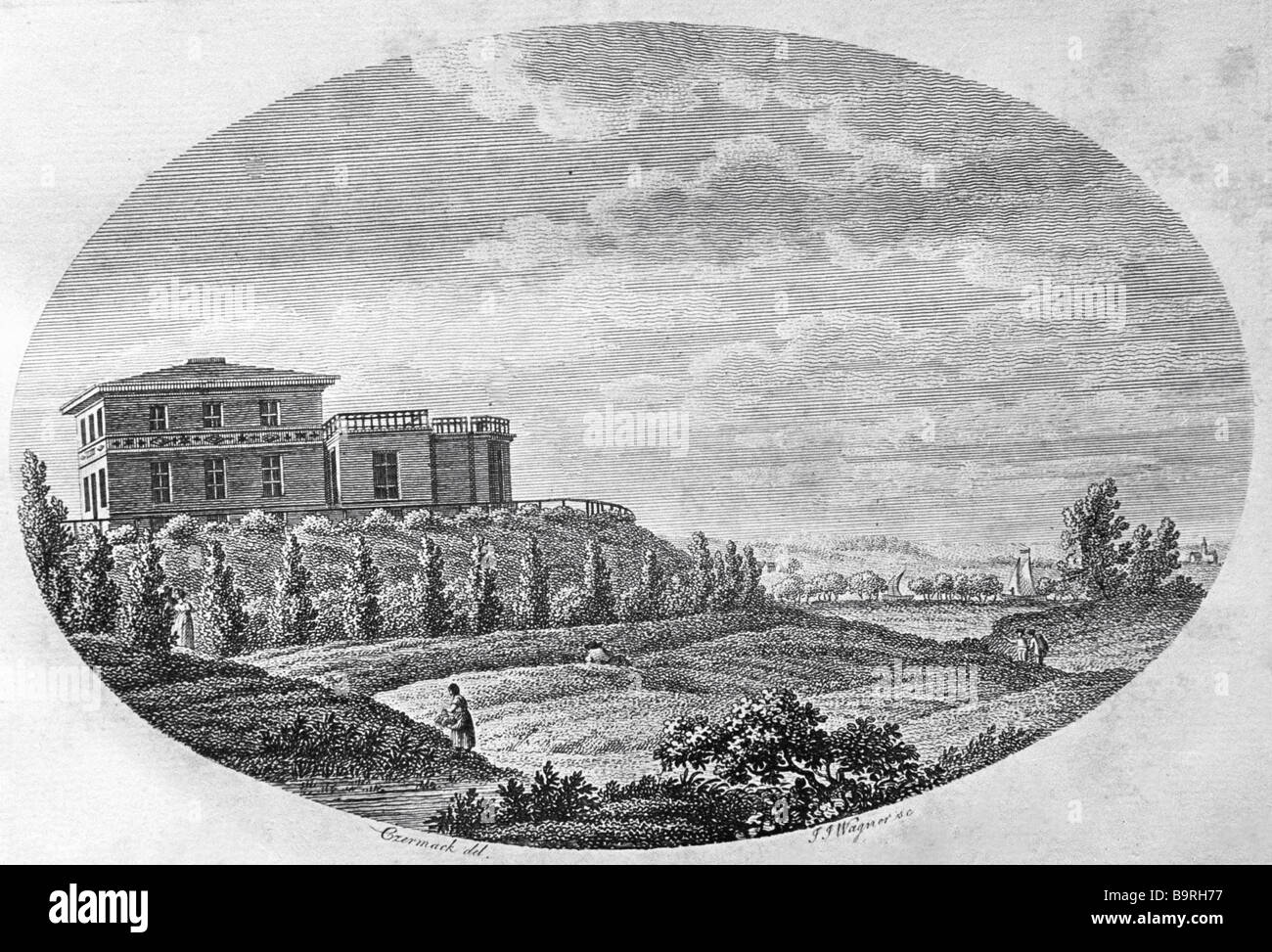 Engraving depicting the building of the Koenigsberg observatory Sternberg Astronomical Institute library Reproduction - Stock Image