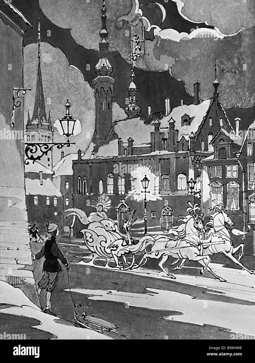 A reproduction of a drawing by Valery Alfeyevsky to The Snow Queen fairytale by Hans Christian Andersen - Stock Image