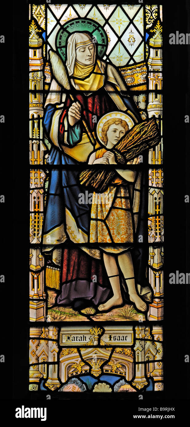Sarah and Isaac, South nave window (detail). Church of Saint Mary, Dalton-in-Furness, Cumbria, England, United Kingdom, - Stock Image