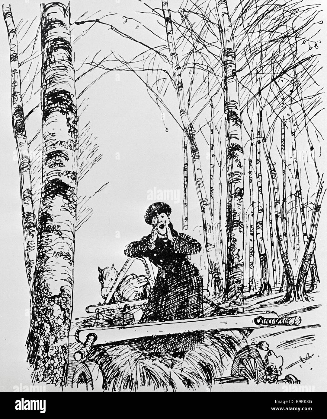 Reproduction of Aminadav Kanevsky s illustration to Anton Chekhov s story Too Much Salt - Stock Image