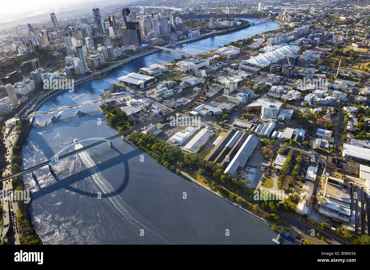 Aerial view of South Brisbane Penninsula and Brisbane City - Stock Image