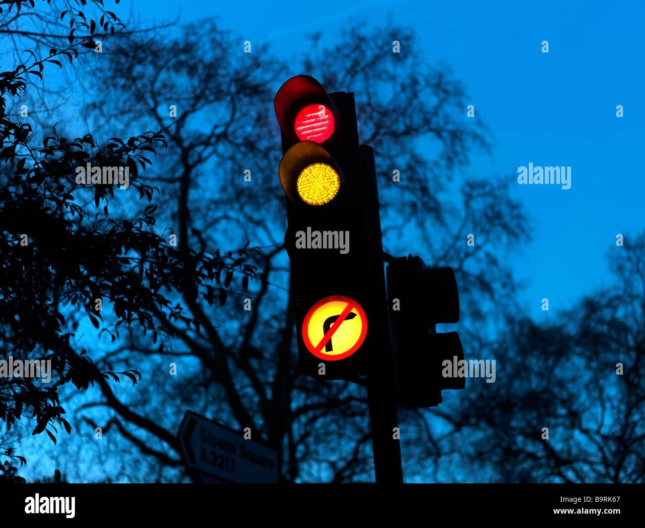 Traffic Lights Sloane Square London - Stock Image