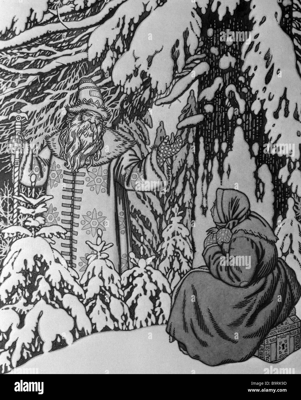 Reproduction of a drawing by Ivan Yakovlevich Bilibin to Morozko old Russian fairytale - Stock Image