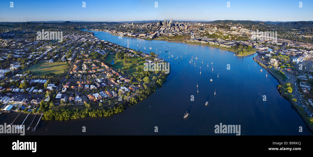 New Farm & Bulimba Brisbane Australia aerial panoramic view - Stock Image