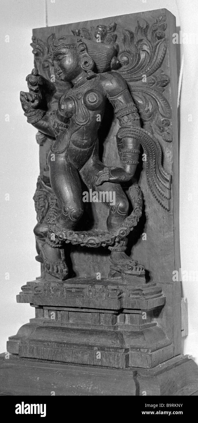 The wooden sculpture Shiva as a young girl from the collection of the Museum of Oriental Art - Stock Image
