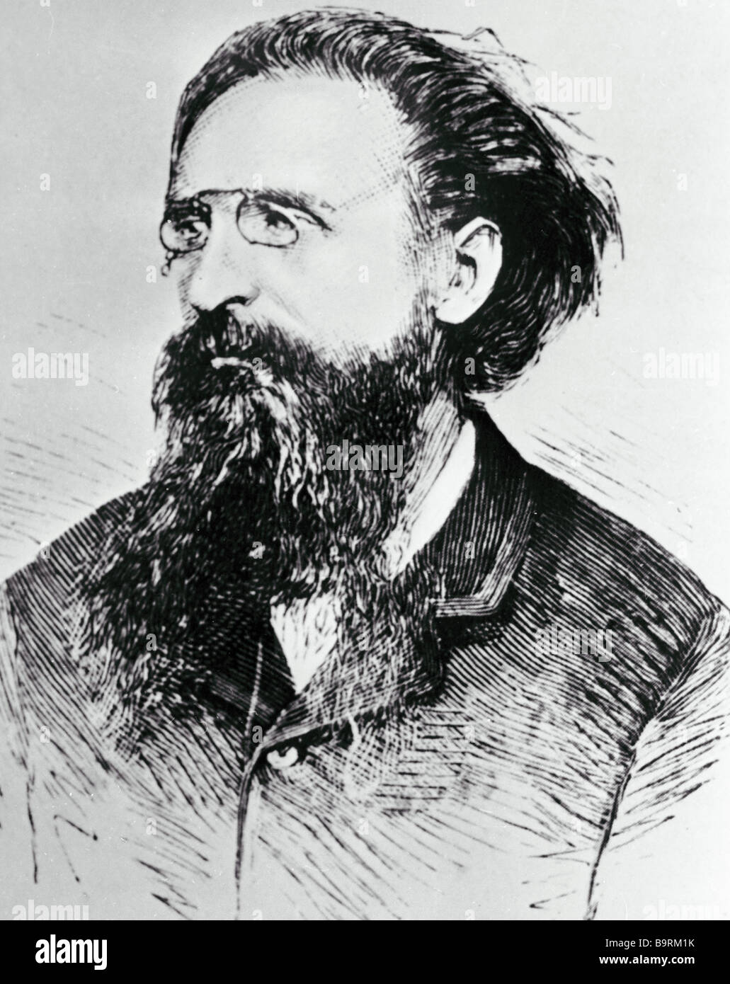 Reproduction of the engraved image of French Socialist Jules Guesde - Stock Image