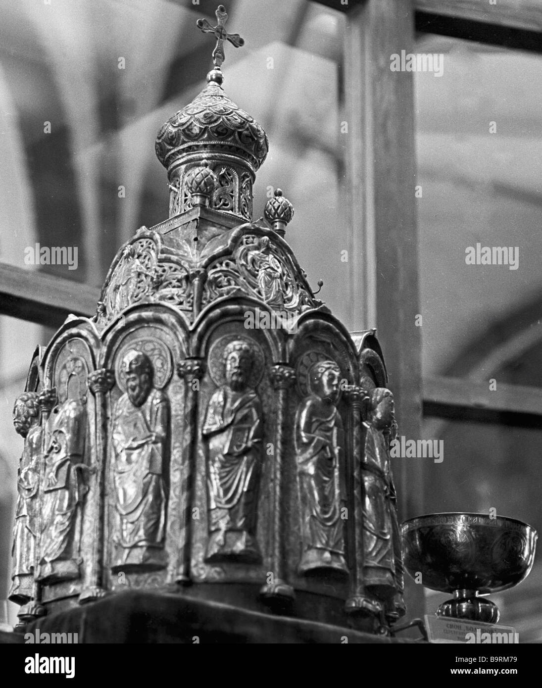 Big zion silver tabernacle from collection of Armory Chamber of Moscow Kremlin - Stock Image
